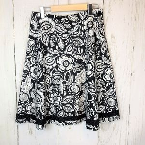 NORTH STYLE Black White Circle Skirt Lace Floral